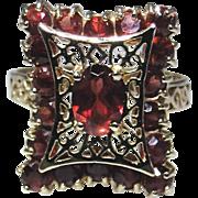 Vintage 14kt gold filigree Garnet ring, excellent condition, size 8.35