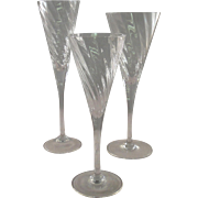 Sasaki Reflections fine vintage crystal glasses, set of three