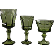 3 glasses Fostoria Virginia pattern, moss green color