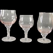 Sasaki Coronation stemware, light pink