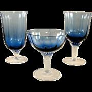 Gorham Octette cobalt blue and clear stemware