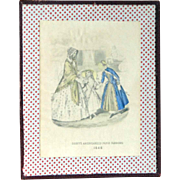 "Old print ""Godey's Americanized Paris Fashions 1848"" in folk art frame"