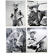 Four 8x10 movie stills of singing cowboys, Tex Ritter, Gene Autry, Roy Rodgers, Jimmy Wakely