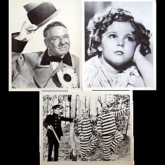 Three 8x10 movie stills, W.C. Fields, Laurel and Hardy, Shirley Temple