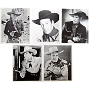 5 black and white 8x10 movie stills of movie cowboys Hopalong Cassidy, Bob Steele, Bill Elliot, Johnny Mack Brown, Charles Starrett - Red Tag Sale Item