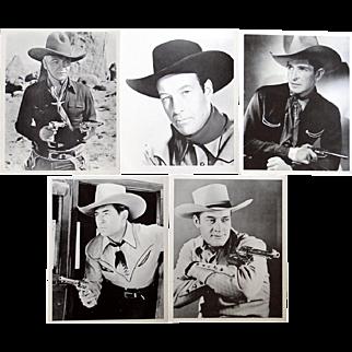 5 black and white 8x10 movie stills of movie cowboys Hopalong Cassidy, Bob Steele, Bill Elliot, Johnny Mack Brown, Charles Starrett