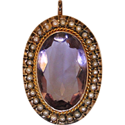 10kt gold Amethyst and seed pearl vintage pendant