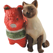Irene Spencer Siamese Cat ornament, 1989, with Pinata in excellent condition