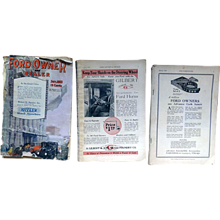 3 Ford Owner and Dealer books from March 1920, August 1921, and January 1923