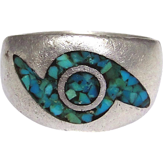 Sterling silver man's ring with inlaid Turquoise bits, unique