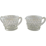 Fenton white French Opalescent hobnail creamer sugar