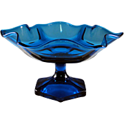 Rich blue glass compote or candy dish on pedestal, larger size