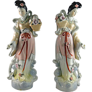 Pair vintage Chinese maiden figurines, great detail