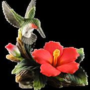 Vintage Andrea by Sadek Hummingbird porcelain figurine with Hibiscus flower