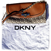 Vintage Donna Karan, DKNY, signature clutch purse with felt bag, excellent condition