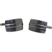 Sterling silver deco style cufflinks, excellent vintage condition