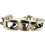Miguel Melendez Mexican Sterling Silver and Amethyst Bracelet