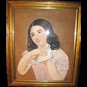 19TH C Folk Art pastel!!!!