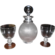 Lalique lead crystal decanter and 2 matching goblets!