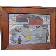 "Late 19th C. Folk Art Painting, ""THE EXPERT"", ice skating!"