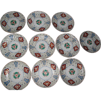 Set of ten vintage ASIAN plates, signed!