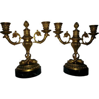 French 19th C bronze dolphin standard candleabra, pair