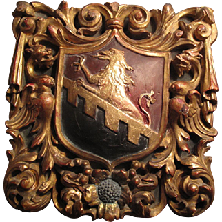 18th/19th C. carved coat of arms panel, great carving!
