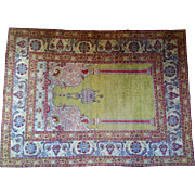 Antique 19th Century Turkish Silk Mihrab Rug circa 1890
