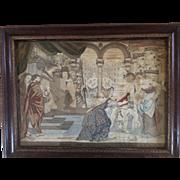 Antique 17th Century Florentine Textile Scene of King Solomon's Judgement circa 1647