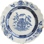 18th English tin-glazed Blue White Plate ca 1750  Bristol