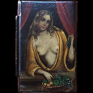 19th Century Erotic Paper-mache Snuff Box  Ca 1850