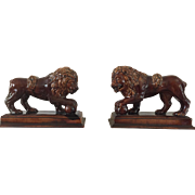 19th Century Pair of Rockingham Lions   ca. 1840