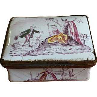 18th Century English Battersea Gilded Enamel box.  Ca. 1750-70