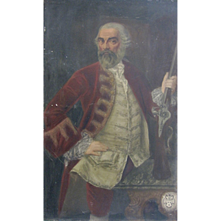 18th Century Portrait of a Gentleman Soldier Rifle Large Antique Oil Painting
