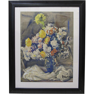 AUGUST BIEHLE Listed Ohio WPA Artist Original Signed Still Life Floral Painting