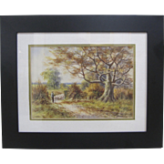 Antique 19th Century Original Signed Pastoral Sheep Watercolor Painting Framed