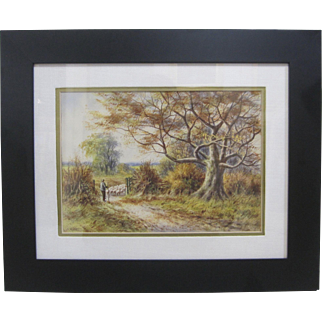 Antique Original Signed Pastoral Watercolor Painting Framed