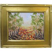 Alexandre Renoir Original Oil French Impressionist Poppy Field Landscape 14x18