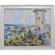 Alexandre Renoir Original Oil French Impressionist Lighthouse and Sailboats Seascape 16x20