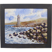 Alexandre Renoir Original Oil French Impressionist Lighthouse Seascape 20x24