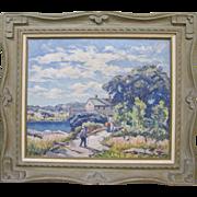 Bernard Green 1920s Rockport Nantucket Harbor Original Oil Painting