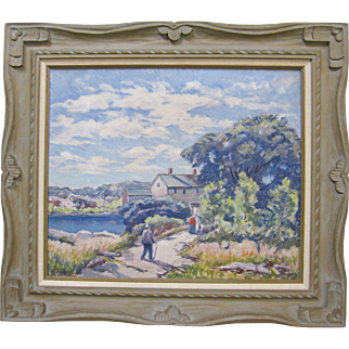 Bernard Green Listed 1920s Rockport Nantucket Original Oil Painting