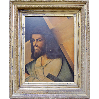 Old Master 19th C Jesus Christ Crucifixion after Bellini Original Oil