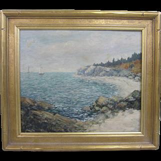 Antique Charles Duncan Rodick Listed Maine Nova Scotia Coastal Seascape Sailing