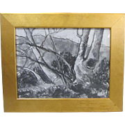 Darwin Duncan Early California Plein Air Listed Art Landscape Charcoal Drawing