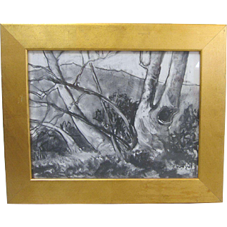 Darwin Duncan Early California Plein Air Listed Art Landscape Charcoal Drawing