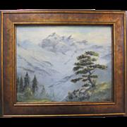 Dorothy Johnston Vintage Misty Mountain California Original Lanscape Oil Painting