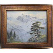 Dorothy Johnston Vintage Misty Mountain California Original Lanscape Oil Painting