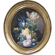 Dutch Felmish Old Master 18th/19th C Antique Signed Jan Frans van Dael STUDY Still Life Bird's Nest Floral Oval Frame