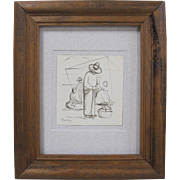 Diego Rivera Original Indian Ink on Rice Paper Men at Market Drawing